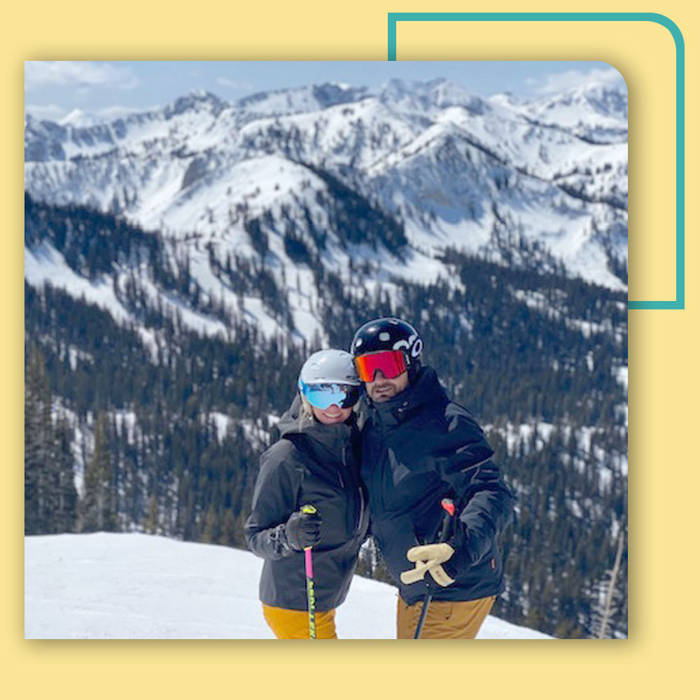 Kimberly Reading, Miguel Azcarate atop a ski mountain